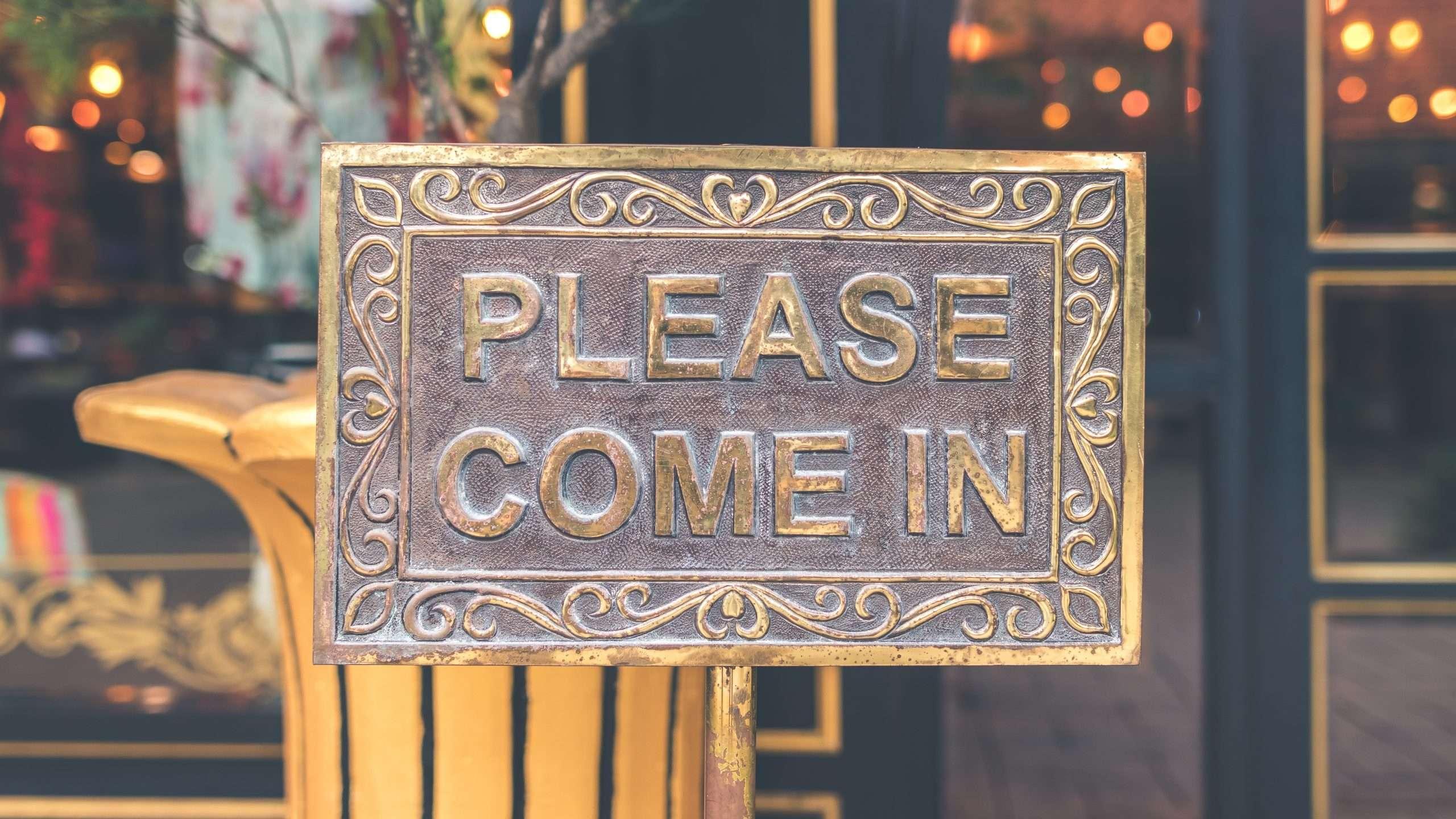 Furniture store welcome-in board