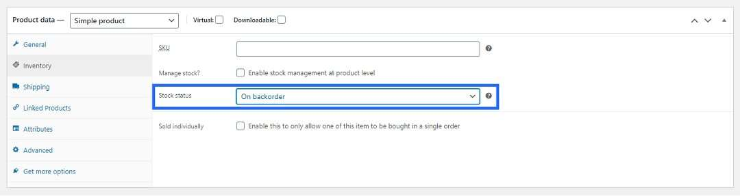 Backorder support enabled – Allow customers to order out-of-stock products
