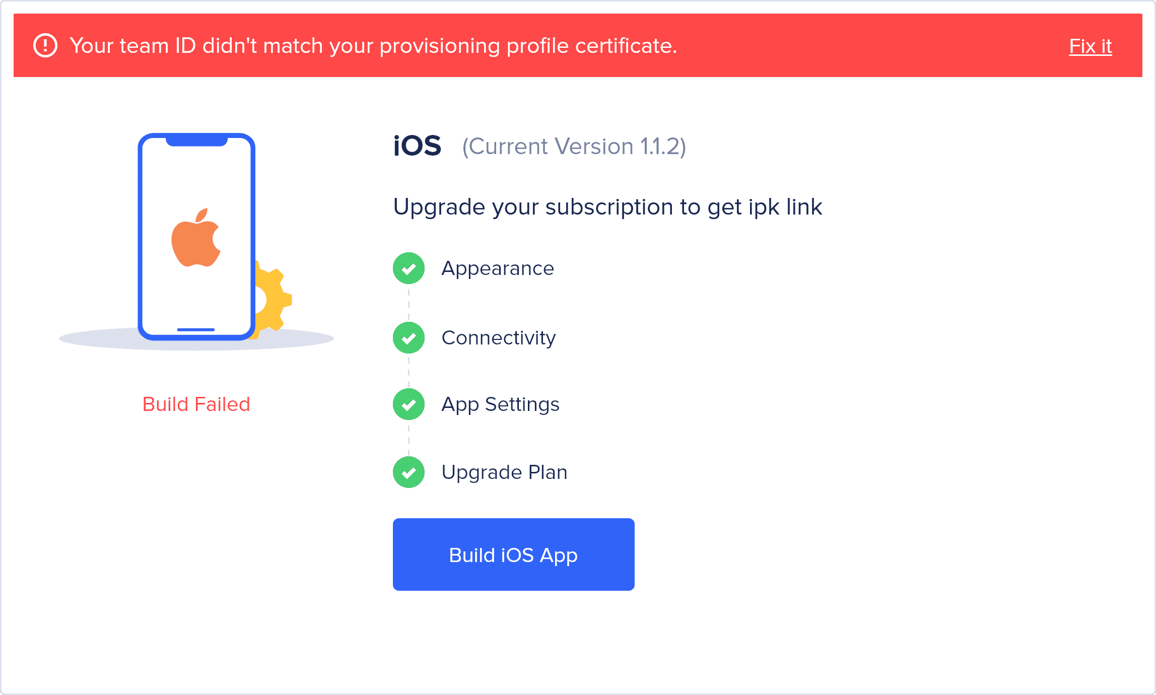 iOS build generation simplified with better error handling