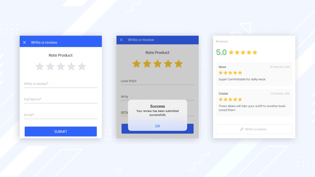AppMySite user review feature