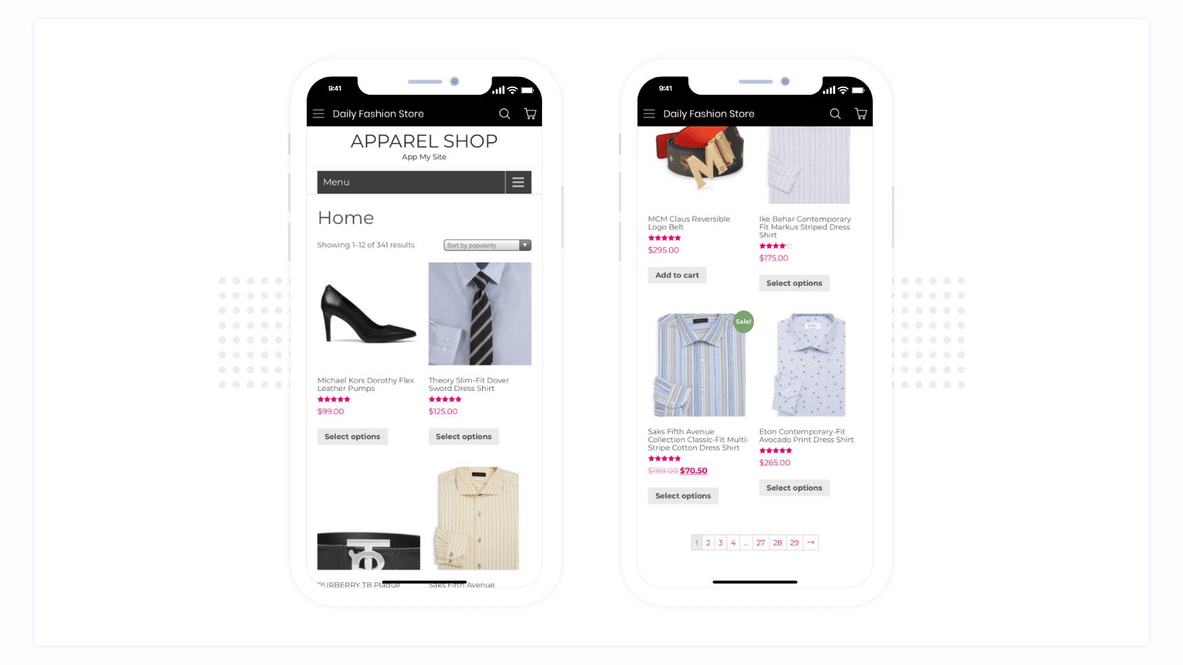 Website header and footer