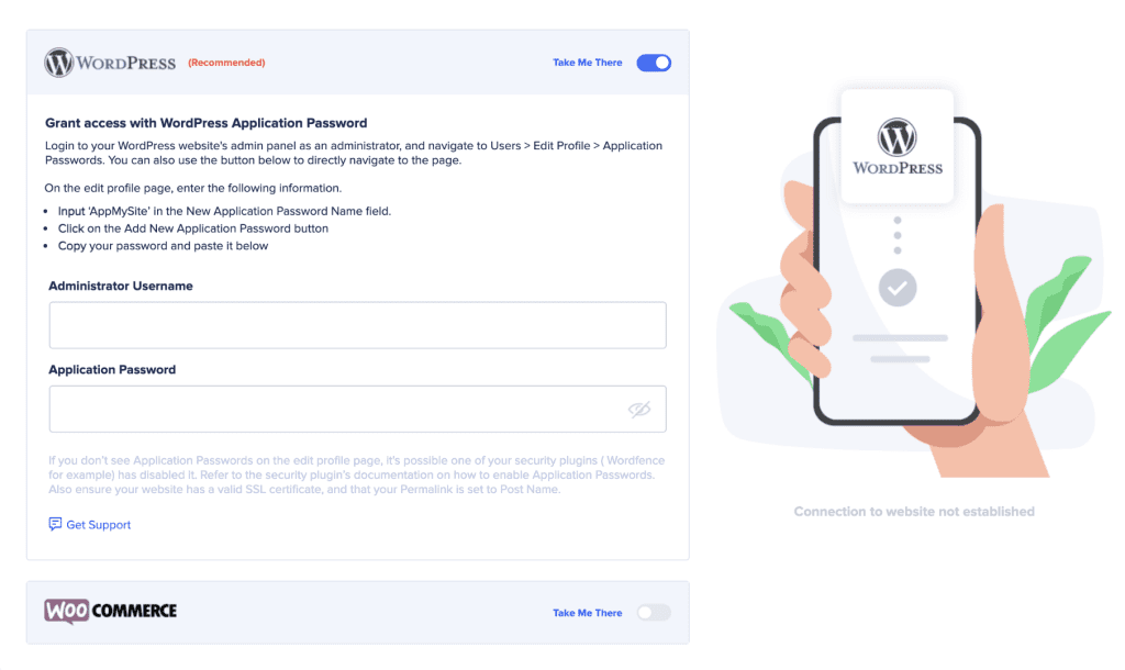 establish connectivity with AppMySite